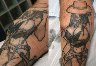 Silicone breast implants meet tatoos