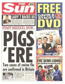 The Sun on the arrival of swine flu in Britain*